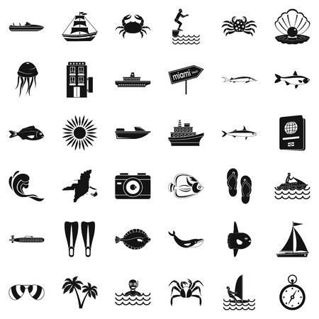 Set di icone pelagiche. Un insieme semplice di 36 icone pelagiche di vettore per il web isolato su fondo bianco Archivio Fotografico - 95996263