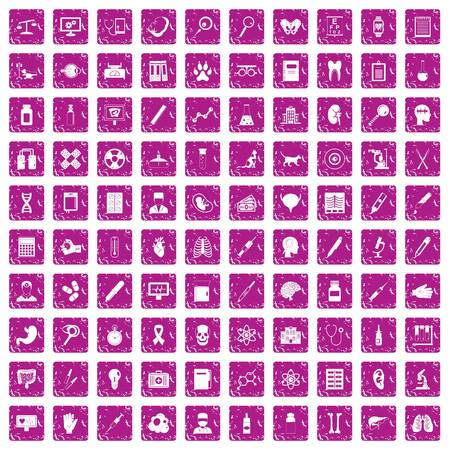 100 diagnostic icons set grunge pink