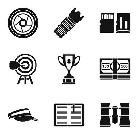 Fitness news icons set, simple style