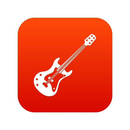 Classical electric guitar icon digital red Vettoriali