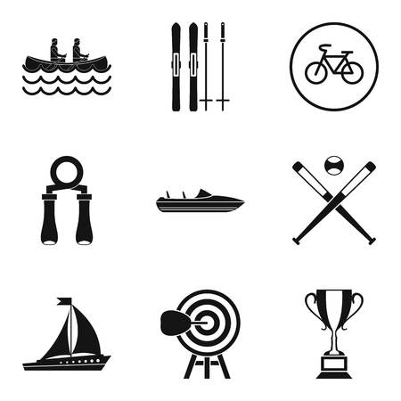 Sport section icons set, simple style