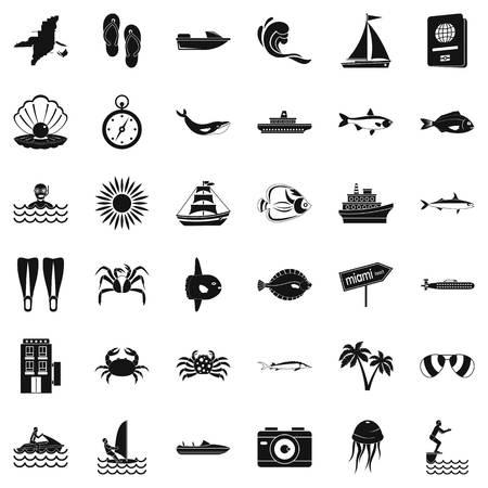 Oceanographic icons set, simple style Archivio Fotografico - 96013248