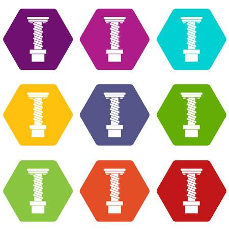 Spiral tool icon set color hexahedron