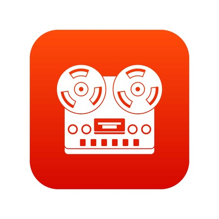 Retro tape recorder icon digital red