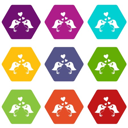 Two birds with hearts icon set many color hexahedron isolated on white vector illustration Vectores