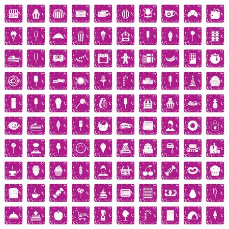 100 dessert icons set in grunge style pink color isolated on white background vector illustration