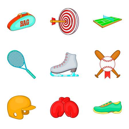 Exercise icons set. Cartoon set of 9 exercise vector icons for web isolated on white background Illusztráció