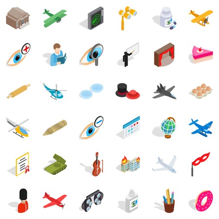 Intervention icons set. Isometric set of 36 intervention vector icons for web isolated on white background Illustration
