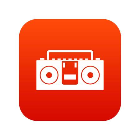 Vintage tape recorder for audio cassettes icon digital red for any design isolated on white vector illustration Illustration