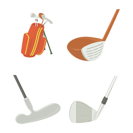 Golf stick icon set. Cartoon set of golf stick vector icons for web design isolated on white background  イラスト・ベクター素材