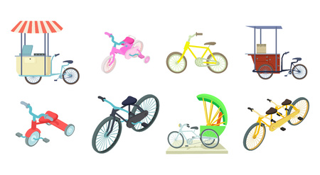 Bike icon set. Cartoon set of bike vector icons for web design isolated on white background