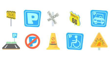 Road sign icon set. Cartoon set of road sign vector icons for web design isolated on white background Illustration