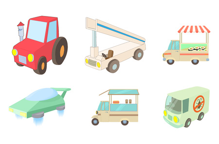 Special vehicle icon set. Cartoon set of special vehicle vector icons for web design isolated on white background Illustration