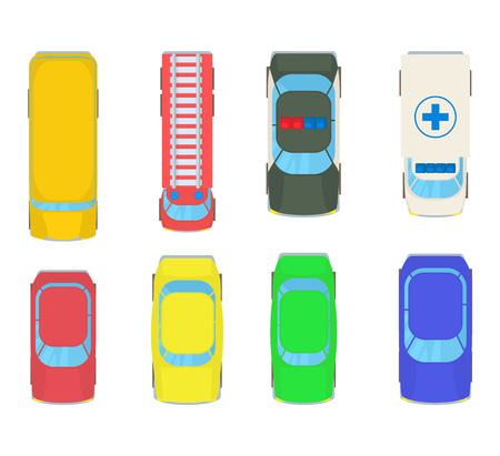Vehicle bird view icon set. Cartoon set of vehicle bird view vector icons for web design isolated on white background Ilustracja