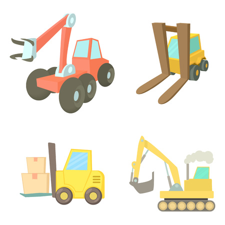 Contruction vehicle icon set. Cartoon set of contruction vehicle vector icons for web design isolated on white background Illustration