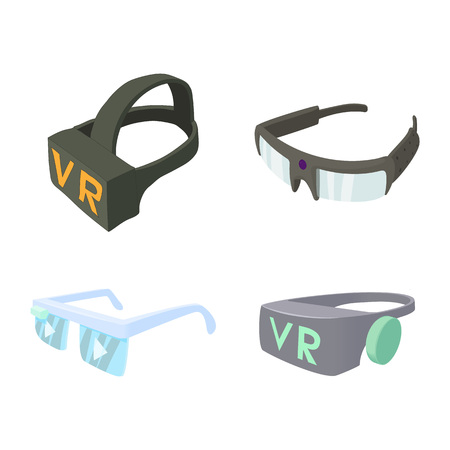 Vr glasses icon set. Cartoon set of vr glasses vector icons for web design isolated on white background