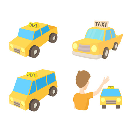 Taxi car icon set. Cartoon set of taxi car vector icons for web design isolated on white background