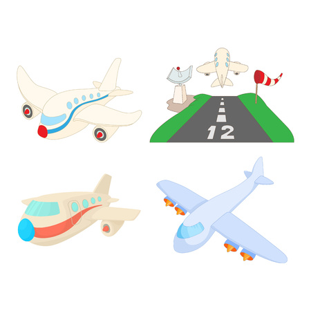 Airbus icon set. Cartoon set of airbus vector icons for web design isolated on white background