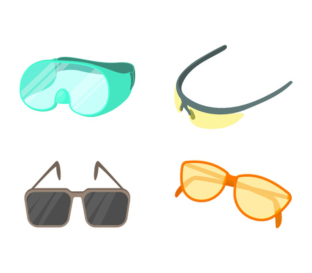 Sport glasses icon set. Cartoon set of sport glasses vector icons for web design isolated on white background