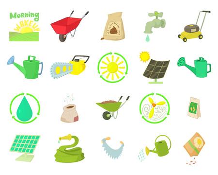 Farm tools icon set. Cartoon set of farm tools vector icons for web design isolated on white background Illustration