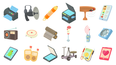 Electric device icon set. Cartoon set of electric device vector icons for web design isolated on white background