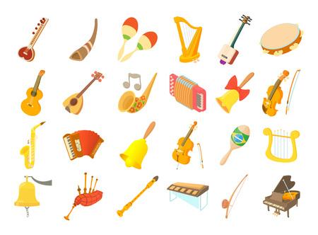 Musikinstrument-Icon-Set. Karikatursatz Musikinstrumentvektorikonen für das Webdesign lokalisiert auf weißem Hintergrund Vektorgrafik