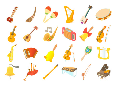 Musical instrument icon set. Cartoon set of musical instrument vector icons for web design isolated on white background