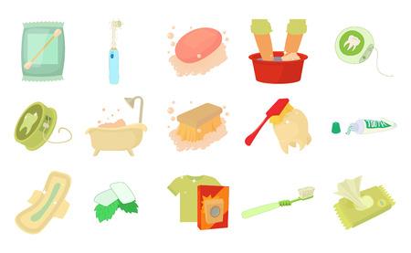 Persönliche Hygiene-Icon-Set. Karikatursatz Vektorikonen der persönlichen Hygiene für das Webdesign lokalisiert auf weißem Hintergrund