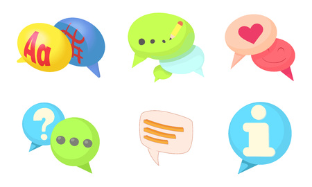 Speak bubble icon set. Cartoon set of speak bubble vector icons for web design isolated on white background Illustration