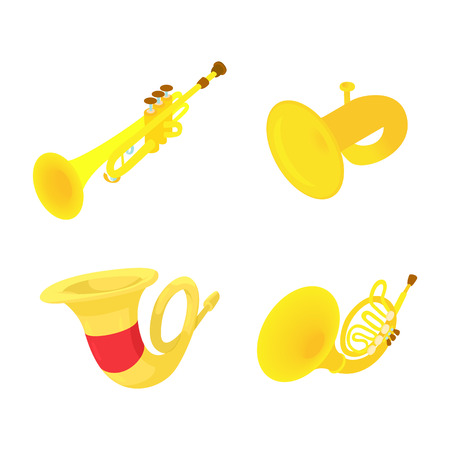 Trumpet icon set. Cartoon set of trumpet vector icons for web design isolated on white background.