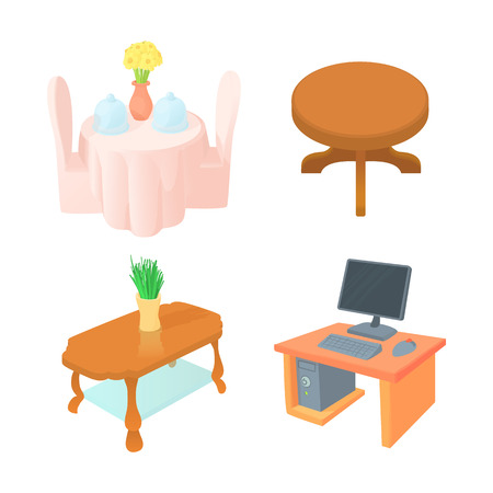 Table icon set. Cartoon set of table vector icons for web design isolated on white background.
