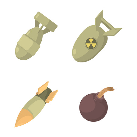 Bomb icon set. Cartoon set of bomb vector icons for web design isolated on white background