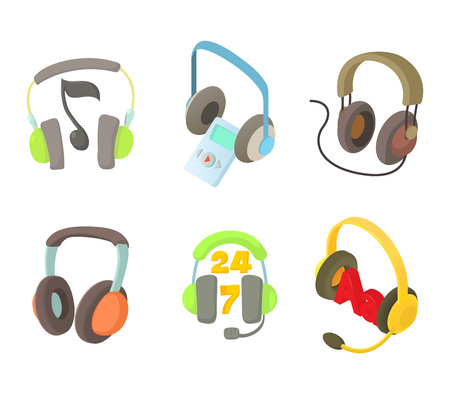Headset icon set, cartoon style
