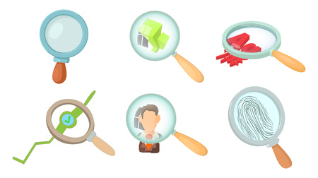 Magnifying glass icon set. Cartoon set of magnifying glass vector icons for web design isolated on white background. Illustration