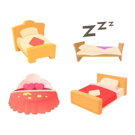 Bed icon set. Cartoon set of bed vector icons for web design isolated on white background Vettoriali