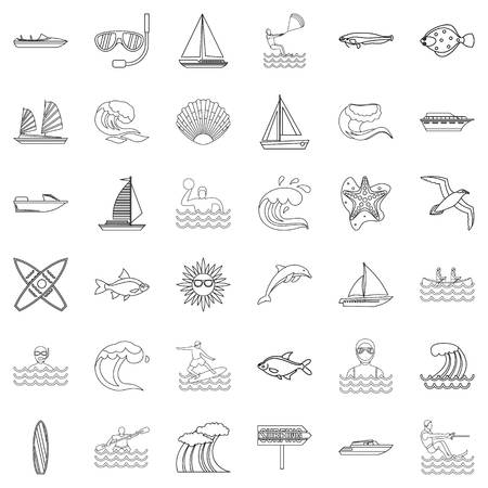 Tap water icons set. Outline set of 36 tap water vector icons for web isolated on white background. Archivio Fotografico - 96162756