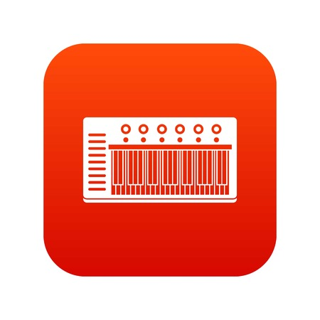 Electronic synth icon digital red for any design isolated on white vector illustration Illustration