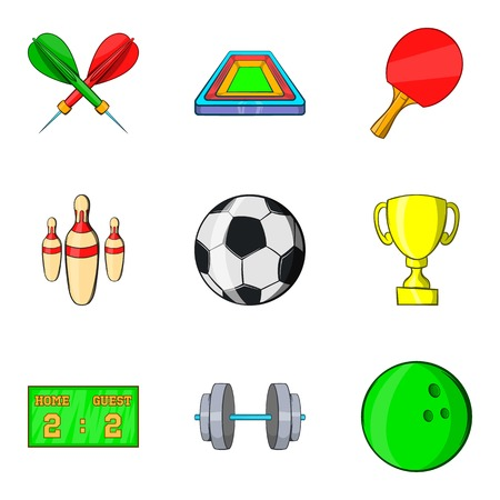 Sport arena icons set. Cartoon set of 9 sport arena vector icons for web isolated on white background.