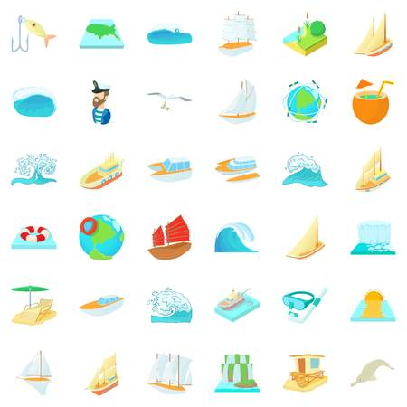 Mineralized water icons set. Cartoon set of 36 mineralized water vector icons for web isolated on white background. Archivio Fotografico - 96173600