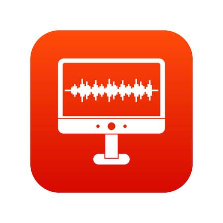 Sound waves icon digital red for any design isolated on white vector illustration Illustration