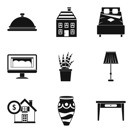Room icons set. Simple set of 9 room vector icons for web isolated on white background