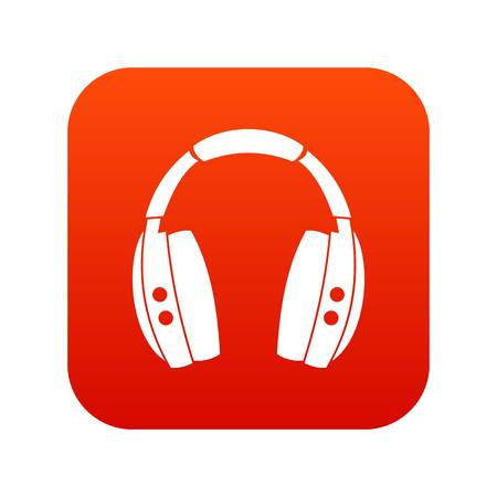 Headphones icon digital red Vettoriali