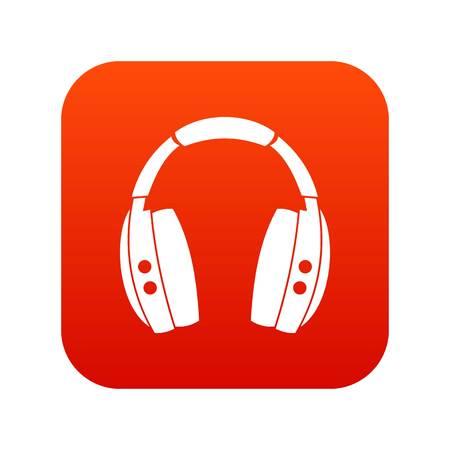 Headphones icon digital red Illustration