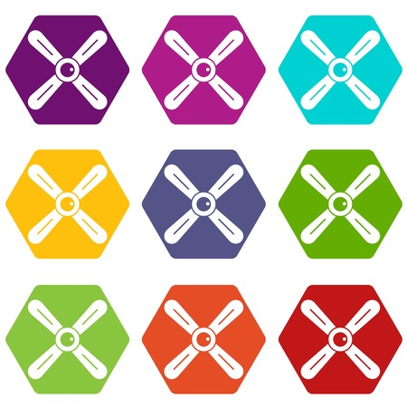 Propeller icon set many color hexahedron isolated on white vector illustration.