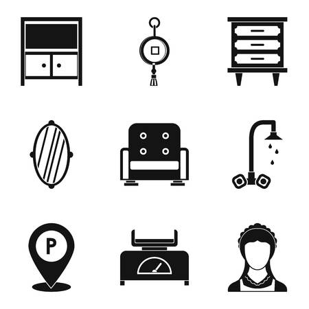 Inn icons set. Simple set of 9 inn vector icons for web isolated on white background