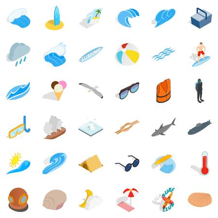 Sea surface icons set, isometric style Illustration