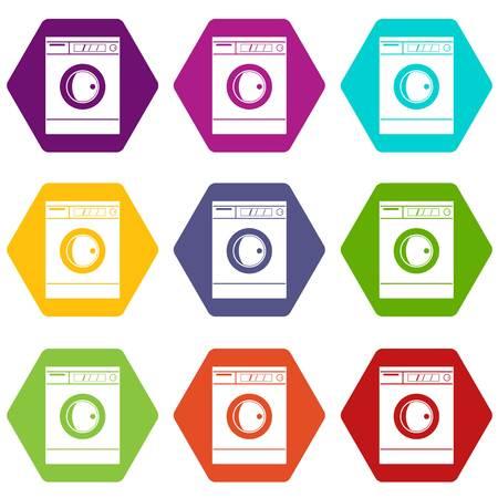 Washing machine icon set color hexahedron Illustration