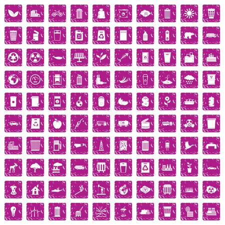 100 ecology icons set in grunge style pink color isolated on white background vector illustration