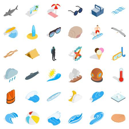 Moisture icons set. Isometric set of 36 moisture vector icons for web isolated on white background Illustration