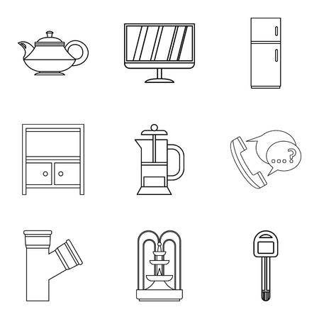 House equipment icons set, outline style